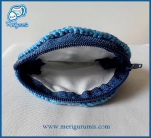 Monedero azul pequeño abierto