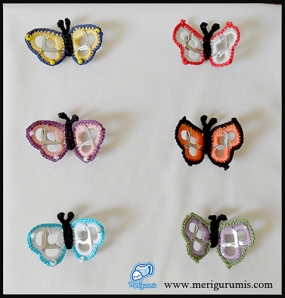 Mariposas broches anillas
