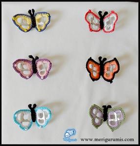 Mariposas broches anillas